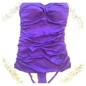 J Crew Strapless Rouched One Piece 8 Royal Purple